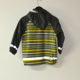 Куртка дождя PU светлой нашивки Yellowi отражательная для детей/младенца