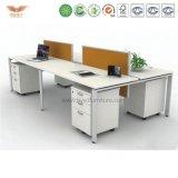 Nouveau châssis métallique de couleur blanc moderne Modular 6 Personne Station de travail de bureau et chaise de maillage pour la vente