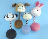 Le jouet d'animal familier de peluche avec la corde avec Embridery observe quatre Asst.