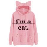 Dos pulôveres bonitos pretos novos da cópia da camisola de Kawaii Hoodie da orelha de gato da cópia do slogan do gato da camisola das mulheres luva longa &120 ocasional