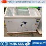 Vitrine de verre à glissière courbée à usage professionnel Ice Cream Freezer Display