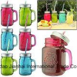 450ml farbiges Saft-Flaschenglas-Cup mit Kappe und Griff