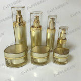 贅沢で装飾的な包装の金のアクリルのクリーム色の瓶の容器のびん(PPC-CPS-062)