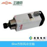 6kw 380V ER32 300Hz 12.6A 3.21nm 3.175-14mm Plaza de refrigeración por aire CNC Router madera husillo para Muebles (GDZ120 * 103-6)