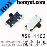 Mini de alta qualidade tipo interruptor deslizante SMD 3a posição do pino 2 do interruptor de báscula (MSK-1102)