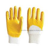 10 указатели белого цвета пряжи фланелевая половину висящих латексные перчатки с покрытием