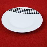 Jeu de dîner noir blanc de Decaled de contrôleur de porcelaine élégante en gros