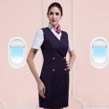 Kundenspezifische V-Stutzen Frauen-reine Farben-Pilotfußleisten-Fluglinien-konstantes Kleid