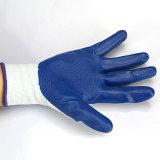 13G нитриловые перчатки с многократного использования синего упора для рук покрытие