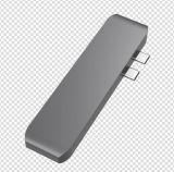 C Hub USB de aluminio, tipo doble-C hub con adaptador de 40Gbs Rayo 3, puerto de carga tipo C, 2 puertos USB 3.0, lector de tarjetas Micro SD/2016/2017 para MacBook Pro.