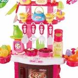 Cozinha Vermelho plástico fingir Playset DIY brinquedos de madeira cozinha para crianças
