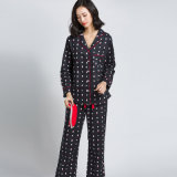 Pijamas longos das luvas do Eyeshade do terno da roupa de noite do algodão de Emerizing da alta qualidade
