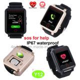 心拍数のモニタY12が付いている年配の防水GPSの追跡者の腕時計
