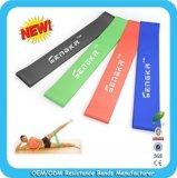 A venda quente personaliza o laço das faixas do látex da resistência da borracha natural ajustado com seu logotipo