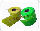 Blanco de encargo o escritura de la etiqueta de papel de la etiqueta engomada de los colores, escrituras de la etiqueta la termal
