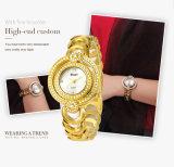 Montre Lune-Shaped de quartz de courroie de bracelet de dames de Belbi de montre de double de disque de côté en acier neuf de vitesse