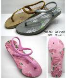 Caduta di vibrazione di gomma della signora Shoes del sandalo con la cinghia di scintillio (22FL908)