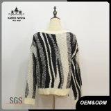 Mulheres Zebra-Stripe Leisure Tricô Pullover Sweater
