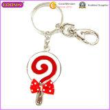 승진 귀여운 Lollipop 주문 빨간 활 금속 Keychain (15671)
