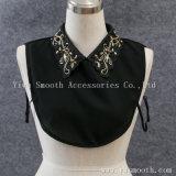Съемная черно белых женщин моды футболки на фальшивый воротник с Rhinestone