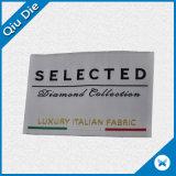 Etiqueta tecida do vestuário do damasco do vestuário da alta qualidade tipo feito sob encomenda