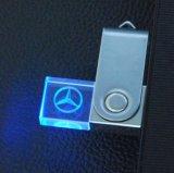 Привод вспышки USB шарнирного соединения СИД светлый кристаллический Pendrive с логосом гравировки 3D