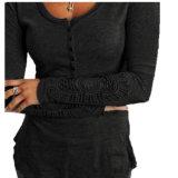형식 레이스 소매 둥근 고리 호리호리한 여자의 t-셔츠