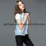 Куртка джинсовой ткани отдыха одежд повелительниц ретро с безрукавный