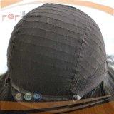 Peluca judía del negro superior de seda del pelo humano (PPG-l-0902)
