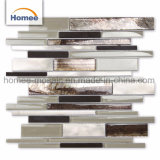 Pared cocina Backsplash mezcla mezcla de aluminio de color beige marrón mosaico de vidrio