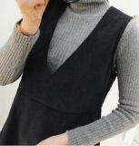 Pannello esterno lungo della maglia casuale Sleeveless del V-Collo delle signore