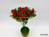 Única haste flor artificial/plástica/de seda do Rosebud (XF32005)