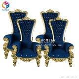Tissu bleu avec la présidence bon marché de roi et de Reine de bonne qualité des prix de garniture d'or