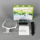 Justierbares Lupe-Stirnband-Vergrößerungsglas-Vergrößerungsglas mit LED-heller Lampe für permanente Verfassung und Wimper Extention