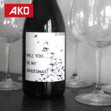 Feliz cumpleaños elegante - color de rosa, negro y oro - regalo de cumpleaños de las escrituras de la etiqueta de la botella de vino para ella - conjunto de 4
