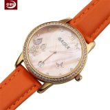 Het nieuwe Horloge van Wirst van de Riem van het Leer van de Saffier van de Aankomst Oranje