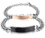 人の女性のカップルの宝石類の方法ステンレス鋼の鎖のカップルのブレスレットのための2017黒またはローズの金カラー十字のブレスレット