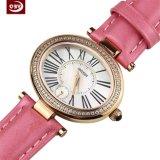 Pas Horloge van de Dames van het Leer van het Glas van de Saffier het Roze aan