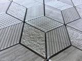 Rhombus mosaico de mármol beige natural para el diseño de interiores
