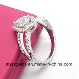 Ring van de Manier van de Band van Moissanite Jennie van de Besnoeiing van de Peer van de Kleur van GH de Briljante Zilver Geplateerde