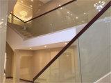 Scale commerciali di vetro Tempered di disegno 15mm della costruzione con il corrimano di legno