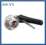 4 válvulas de borboleta higiênicas sanitárias inoxidáveis da braçadeira do aço AISI304 Tc da posição tri