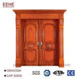 Modèles en bois principaux de double porte de porte en bois solide de modèles modernes