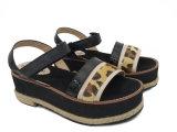 Ботинки способа пеньковой веревки леопарда ботинок платформы ЕВА женщин Strappy