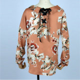 女性のための集められた袖によって混合されるSurpliceの覆いによって印刷されるブラウス