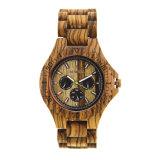 Bewell Logotipo personalizado Venta caliente hombres de carácter artesanal de madera de cebra de cuarzo relojes