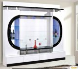 Самомоднейшая живущий древесина TV Cabient комнаты с стеклянной дверью