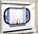 La moderna sala de TV Cabient de madera con puerta de vidrio