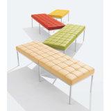 Mobilier de bureau moderne et élégante canapé en cuir italien avec pieds en acier inoxydable