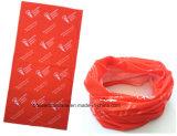 중국 공장 OEM 생성은 백색 로고에 의하여 인쇄된 빨간 폴리에스테 목 관 Headscarf를 주문을 받아서 만들었다